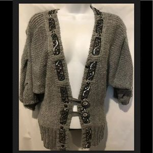 BKE The Buckle Cardigan Sweater Lace Sequins Wool